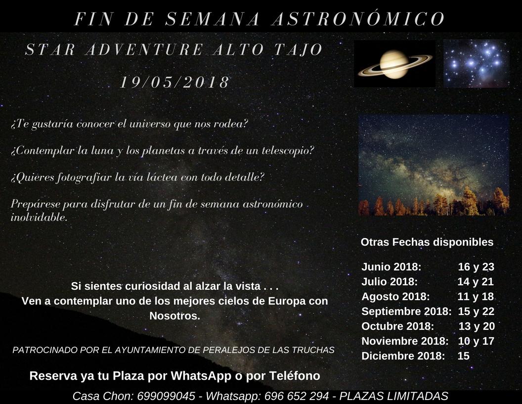 Astro Tajo eventos estrellas via lactea Casa Chon