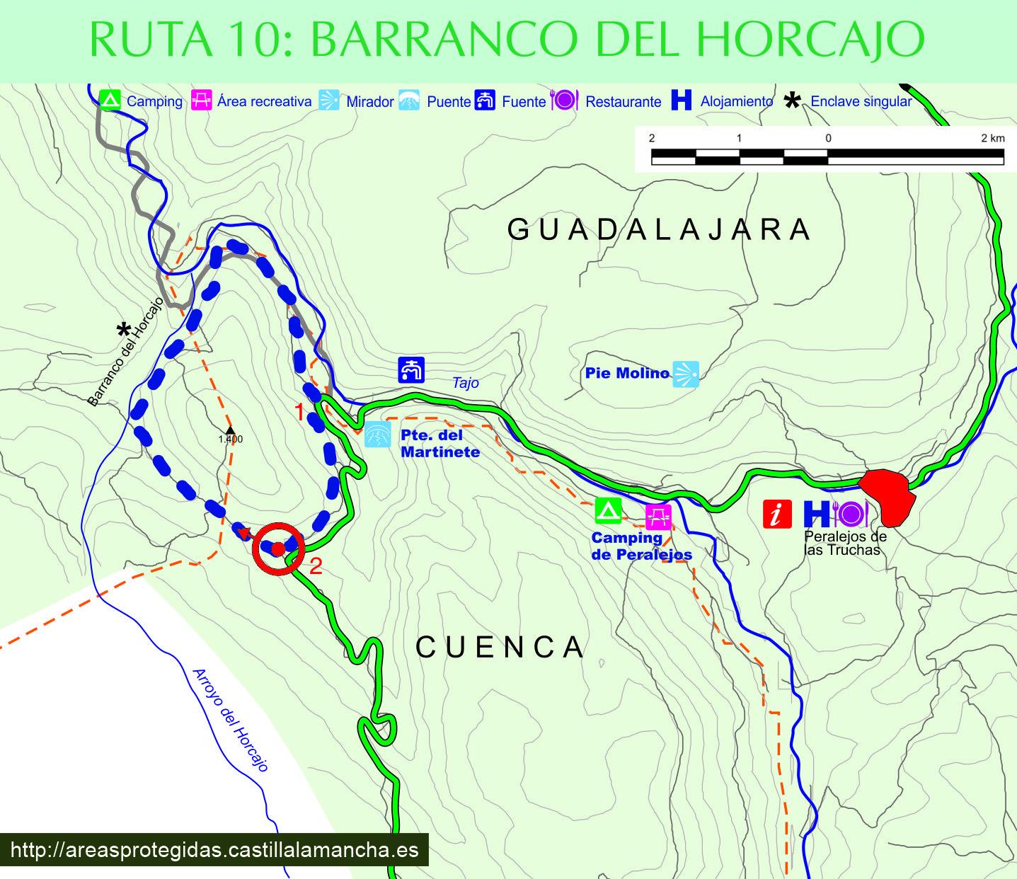 plano de ruta interpretativa barranco del horcajo